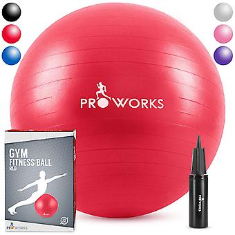 Anti-Burst Exercise Ball 65cm Heavy Duty With Pump - Red