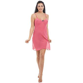 Camille Womens Coral Pink Chiffon Chemise & Wrap Set