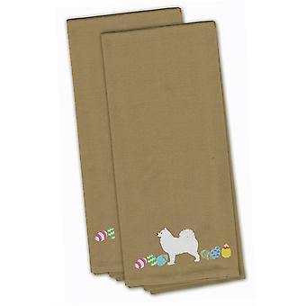 Samoyed Easter Tan Embroidered Kitchen Towel Set of 2