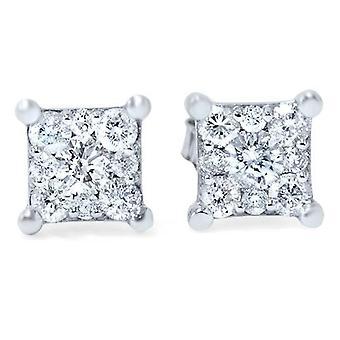 1/2ct Princess Cut Diamond Cluster Studs 14K White Gold