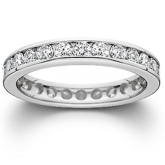 1 1/2ct Channel Set Lab Created Diamond Eternity Ring 14K White Gold