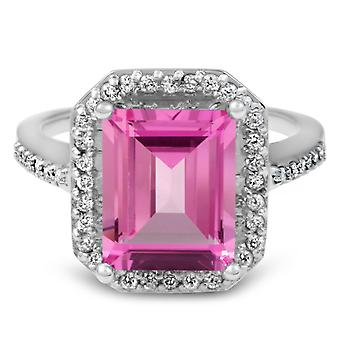 4 1/2 ct ピンク トパーズ ・ ダイヤモンド ヴィンテージ ハロー婚約指輪ホワイトゴールド