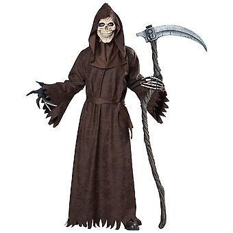 Ancient Grim Reaper Skull Skeleton Ghoul Robe Horror Halloween Mens Costume