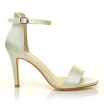 PAM Ivory Satin Ankle Strap Barely There Bridal High Heel Sandals