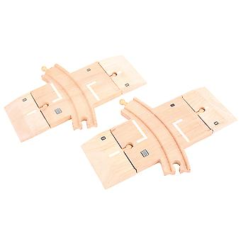Bigjigs Rail Wooden Curved Level Crossing Track Expansion Accessories Set