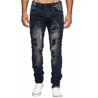 Mäns jeans byxor nitar förstörd sten tvättade