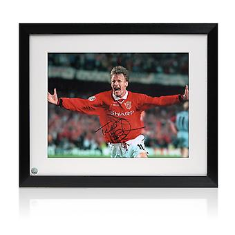 Signed And Framed Teddy Sheringham Manchester United Photograph: Champions League Goal