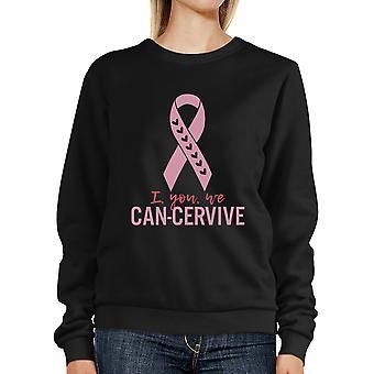 Eu tu nós moletom de fita rosa bonito pode-Cervive para suporte de câncer