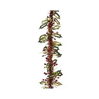 15ft Holly and Berries Tinsel Garland for Christmas | Christmas Tree Decoration