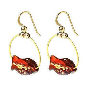 Red - 3 cm - fish - gold-plated ladies - earrings-