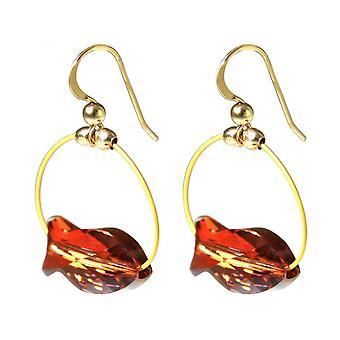Damen - Ohrringe - Vergoldet - Fisch - Rot - 3 cm