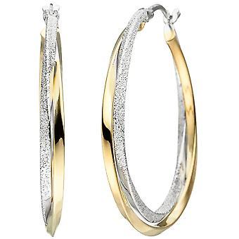 Creolen verschlungen 925 Sterling Silber bicolor vergoldet Ohrringe