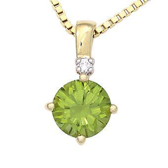 Verde catena ciondolo 585 oro giallo oro peridoto verde diamante brillante