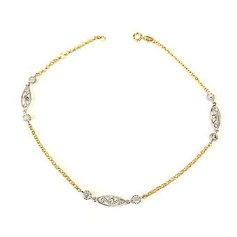 14K Yellow And White Gold Charms Fancy Anklet, 10