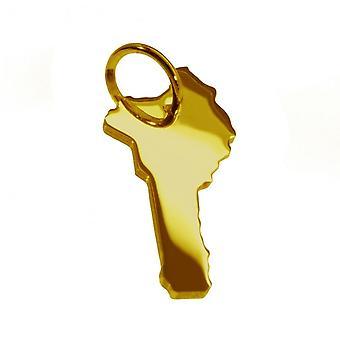 Anhänger Landkarte Kettenanhänger in gold gelb-gold in der Form von BENIN