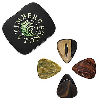 Timber Tones Fat Mixed Tin of 4 Guitar Picks  TIMTF-MT-4