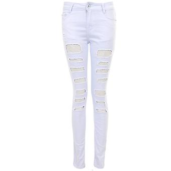 Ladies Lace Mesh Insert Ripped Slit Distressed Slashed Skinny Slim Fitted Jeans
