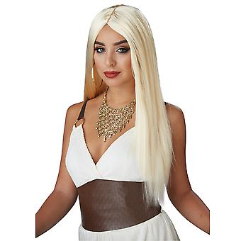 DemiGoddess Long Blonde Straight bangs Middle Part Celebrity Womens Costume Wig