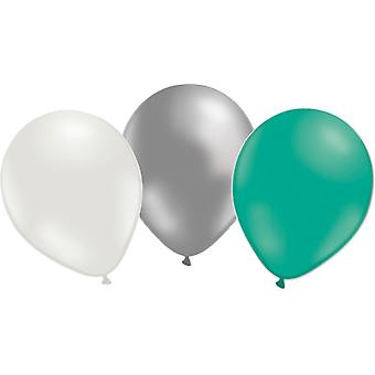 Balloons 24-pack-3 colors-silver, white and emerald green