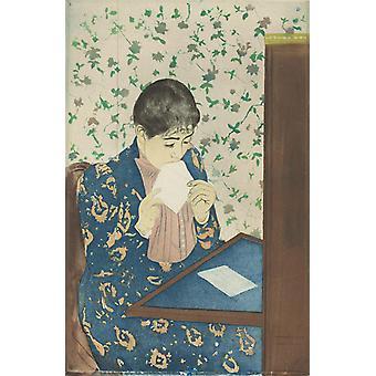 La Lettre, Mary Cassatt, 40x60cm mit Tablett