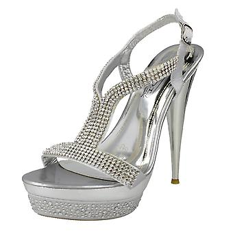 Ladies Spot On Diamante Platform Sandals F10046