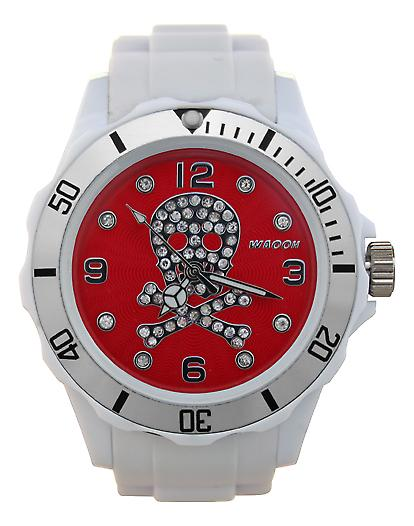 Waooh - Death Watch Rhinestones White Dial Head 39 Color Silver
