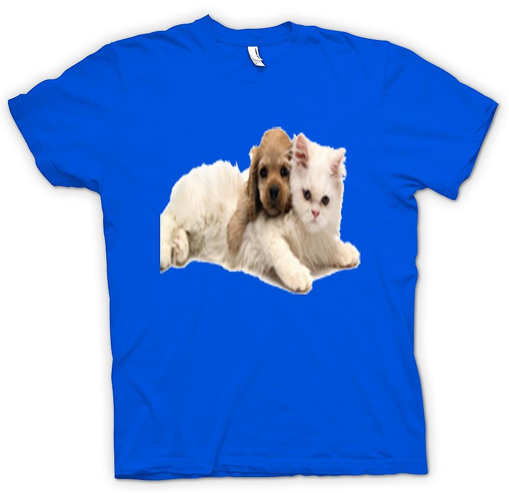 Mens T-shirt - Cute Cat And Dog Portrait