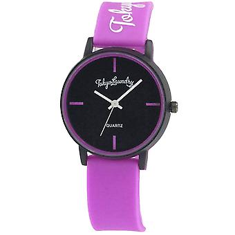 Tokyo Laundry Womens Black Dial Magenta Hot Pink Silicone Strap Watch TKL14C