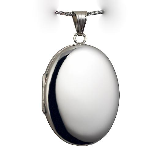 9ct White Gold 35x26mm plain oval Locket with a spiga Chain 16 inches Only Suitable for Children