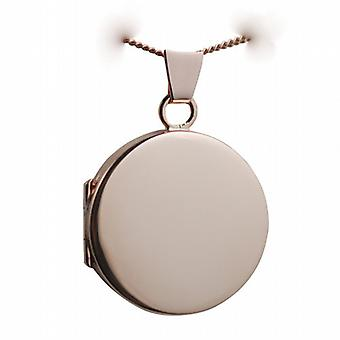 9ct Rose Gold 20mm plain flat round Locket with a curb Chain 24 inches