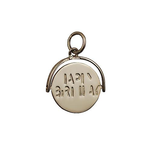 9ct Gold 15x16mm Happy Birthday round spinning disc Pendant or Charm