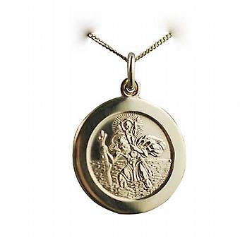 18ct Gold 21mm round St Christopher Pendant with car boat train plane on back with a curb Chain 16 inches Only Suitable for Children