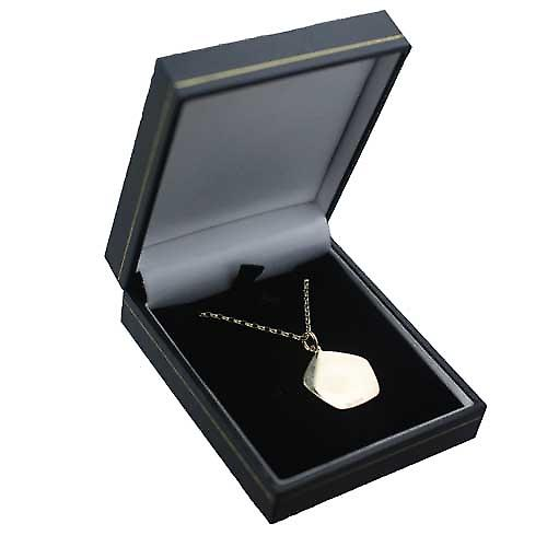 9ct Gold 21mm five sided Gemini Zodiac Pendant with a belcher Chain 16 inches Only Suitable for Children