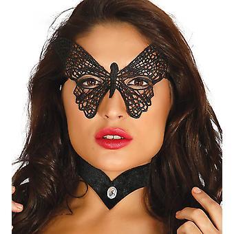 Womens Black brodé papillon Eye Mask déguisements accessoires