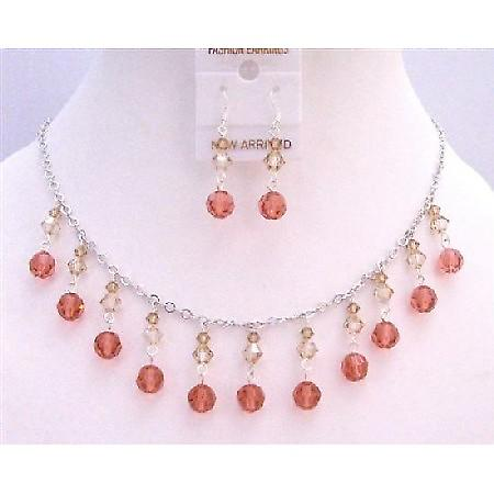 Multi Swarovski Crystals Colorado Golden Shadow & Padparadscha Jewelry