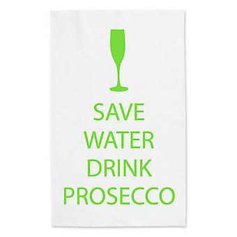 Ahorrar agua bebida Prosecco blanco toalla de té verde texto