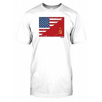 Zimnej wojny USA i rosyjski flagi męskie T Shirt