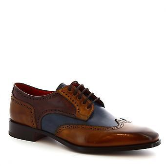 Skor för män Leonardo handgjorda vingspets Brogues i blå & brandy kalvskinn