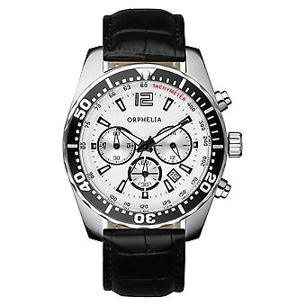 ORPHELIA Mens Chronograph Watch Intense Black Leather 153-6900-14