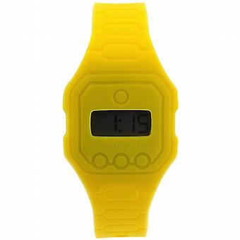 Pixelmoda Unisex Digital With Backlight Yellow Trendy Flat Silicone Strap Watch