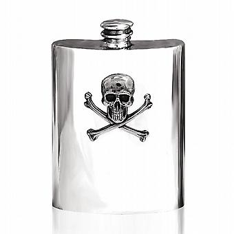 6oz SKULL & CROSSBONES PEWTER FLASK - SF670