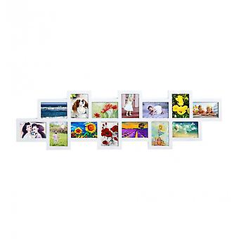 Meubles Rebecca Photo Holder Multiple 14 Photos White Frame From Wall 36x118x1.2