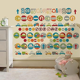 Ready Steady Bed® Children's Road Signs Design Vinyl Wall Stickers