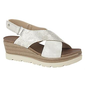 Ladies Womens Sandals Crossover Touch Fastening High Wedge Slip On Shoes