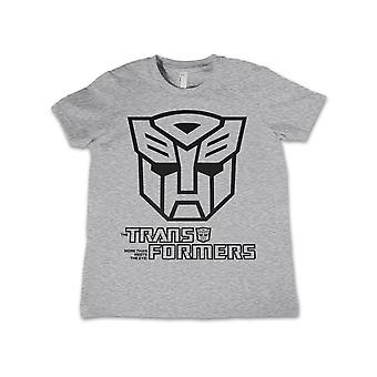 Transformers T Shirt Autobot Outline Logo Official Kids New Heather Grey 3-12yrs