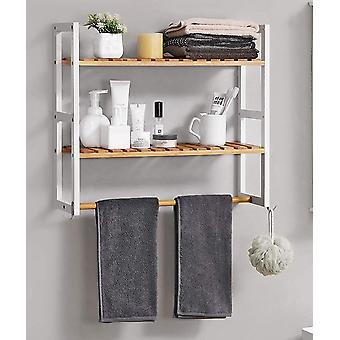 Bamboo Wall rack with 2 shelves and carrying rod-white/natural