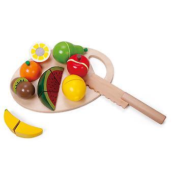 Klassische Welt - Holz Rollenspiel Obst schneiden Set mit 7 Früchten, Schneidebrett und Holzmesser