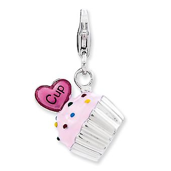 925 Sterling Silver Rhodium plaqué Fancy Lobster Closure Enameled 3-d Cupcake and Heart With Lobster Clasp Charm