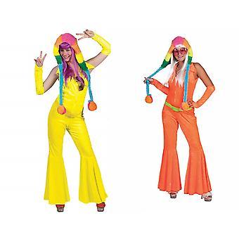 Disco Abito Neon Hippie Costume donna Jumpsuit anni '70S Costume femminile Teme Party Pantaloni