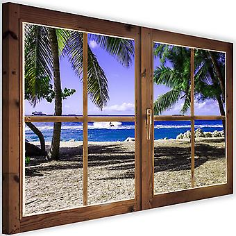 Canvas, Picture on canvas, window, palm trees and beach